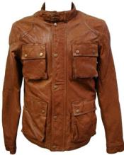 MK853 Cognac Lamb Leather Hunting Coat Available in Big