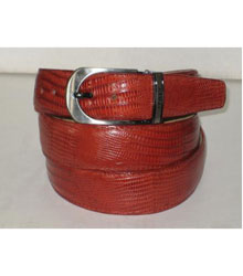 Genuine Authentic Cognac Lizard Belt