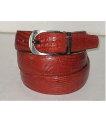 AC-869 Genuine Authentic Cognac Lizard Belt