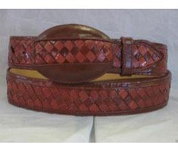 JR36W Genuine Cognac Weave Lizard Teju Western Cowboy Belt