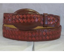 Genuine Cognac Weave Lizard Teju