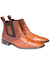 JSM-1768 Mens Vestigium Genuine Ostrich Chelsea Cognac Boots