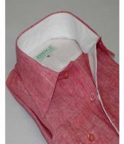 SD315 Mens Inserch Linen Button Front Summer Cool Coral