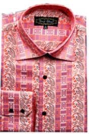 PN-L65 Fancy Shirts CORAL (100% Polyester) Flashy Shiny Satin