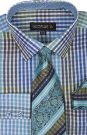 Georges 60% Cotton 40% Polyster Checkered Shirt Tie and