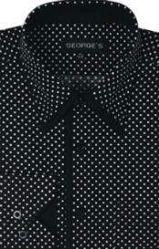 SW932 George 100% Cotton Polka Dot Design Dress Shirt