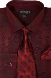 Cotton Geometric Pattern Dress Shirt