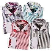 PN96 Poly Cotton Floral Design Striped Dress Shirt French