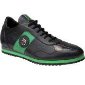NA87 8652 Nappa & Baby Crocodile Sneakers Black/Green