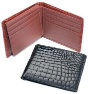 AA377 Ferrini Genuine Crocodile Wallet BlackCognac