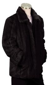 NK8392 Stylish Faux Fur 3/4 Length Coat Liquid Jet