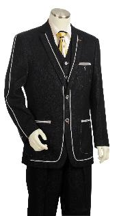 KA7340 Liquid Jet Black 1940s Mens Suits Style