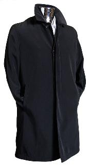 BLK2893 Liquid Jet Black 3/4 Raincoat Trench Coat /