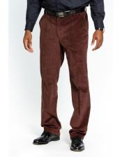 JSM-3613 Mens Stylish Dark Brown Flat Front Corduroy Formal