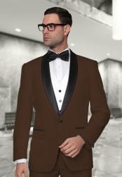 SM4949 Statement Mens Dark Brown Modern Fit 3 Piece
