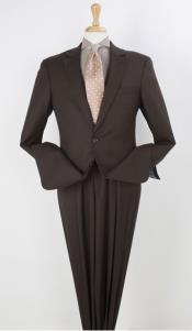 RM1445 2 Buttons Notch Lapel Pleated Wool Fabric Suit
