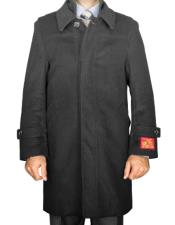 CH1616 Mens Wool/ Cashmere Blend Modern Dark Grey Coat