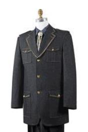 AA448 Safari Liquid Jet Black Denim Military Pocket Suit