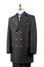 JA136 Mens Stylish Trench Collar Brass Accent Denim Black