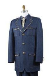AA447 Safari Blue Denim Military Style Jean Fashion Suit