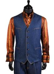 JSM-4907 Mens Single Breasted Denim Blue Cotton 2Pc Vest