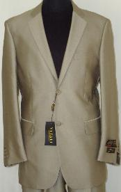 BGE3343 Designer 2-Button Shiny Flashy Beige Sharkskin Suit