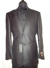 BLAC7511 Designer 2-Button Shiny Flashy Liquid Jet Black Sharkskin