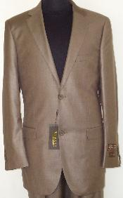 Mens-Designer-2-Button-Shiny-Beige-Sharkskin-Suit