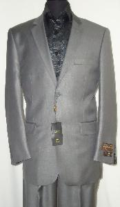 SLG8882 Designer 2-Button Shiny Flashy Silver Gray Sharkskin Suit
