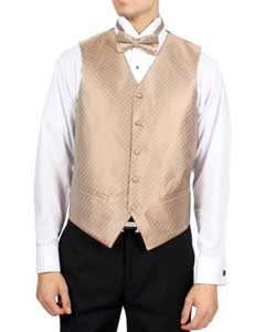 PN-B71 Champagne Diamond Pattern 4-Piece Vest Set