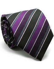 MK205 Premium Striped & Diamond Patterned Ties Purple color