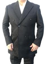 Product#GD1457MensBlackPaisleyDoublebreastedSuitBlazerLooking