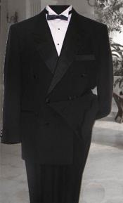 KA6639 Double Breasted Liquid Jet Black 1920s Style Tuxedo