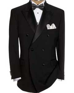 AP230 Liquid Jet Black Double Breasted formal tux Jacket