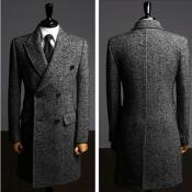 AC-660 Cashmere Double Breasted Long Topcoat Peacoat overcoats outerwear