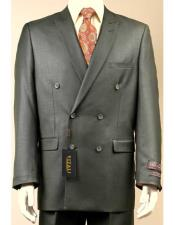 JSM-2950 Vitali Shiny Flashy Sharkskin Double Breasted Olive Suit