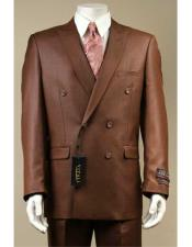 JSM-2951 Vitali Shiny Flashy Sharkskin Rust Double Breasted Suit