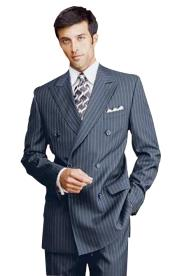 Navy Blue Shade Pinstripe Double Breatsed