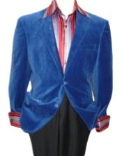 LT5546 royal blue pastel color Velvet Blazer Online Sale