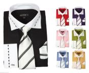 fashionDressShirtWithTie&HankyFrenchCuffStyleMulti-color