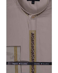 SM641 Dress Shirt Beige Banded Collar Fancy Stitched Embroidery