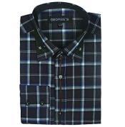 SM496 Dress Shirt Long Sleeve Plaids And Checks Pattern
