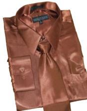 Satin brown color shade Dress Shirt Tie Hanky Set