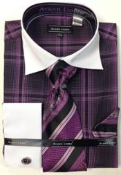 Lavender Windowpane Pattern Dress Shirt Set