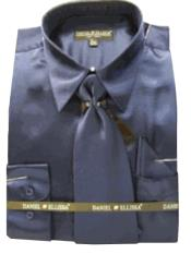 New Navy Satin Dress Shirt
