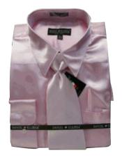 PS188 New Light Pink Satin Dress Shirt Tie Combo