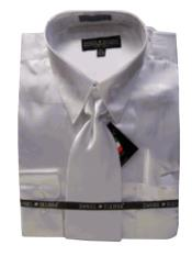 New White Satin Dress Shirt