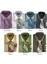 Classic Strip Dress Shirt Set