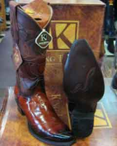 MK903 King Exotic Boots Genuine Eel Cognac Snip Toe