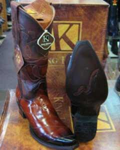 MK934 King Exotic Boots Genunie Eel Cognac Snip Toe